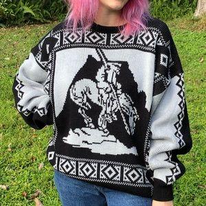 Vintage horseback mountain man sweater